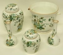 Group of Crown Staffordshire wares in the Kowloon pattern including a small pair of vases, two