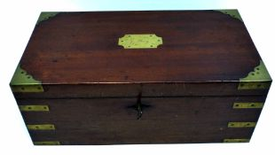 """Brass bound mahogany writing slope with fitted interior, the cartouche inscribed """"G Day"""""""