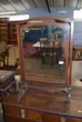 Edwardian mahogany swing mirror with strung decoration, approx 56cm wide