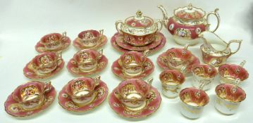 Mid-19th century English porcelain tea set decorated to interior with a pink ground and floral