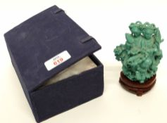 green painted group of Oriental ladies in original box with wooden mount