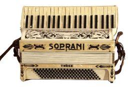 Soprani Three accordion made in Italy
