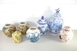 QTY OF CERAMICS, MAINLY JARS AND COVERS, BLUE AND WHITE AND POLYCHROME DESIGNS