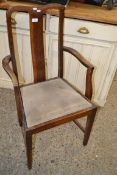 STAINED WOOD UPHOLSTERED ARMCHAIR, WIDTH APPROX 53CM