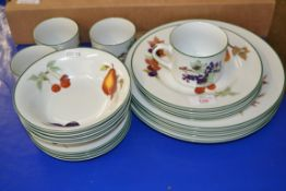 ROYAL WORCESTER EVESHAM WARES, PLATES, SIDE PLATES, BOWLS AND 4 CUPS