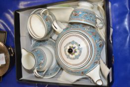 SMALL TEA FOR TWO BY WEDGWOOD IN THE TURQUOISE FLORENTINE PATTERN
