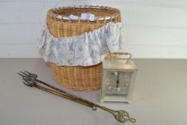 WICKER BASKET CONTAINING A CARRIAGE CLOCK