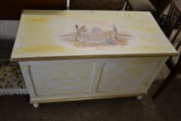 PAINTED WOODEN BLANKET BOX, APPROX 91 X 45CM
