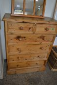 WAXED PINE CHEST OF TWO SHORT OVER FOUR LONG DRAWERS, WIDTH APPROX 88CM