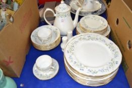 PART TEA SET BY DUCHESS IN THE HAREBELL PATTERN, PLATES, SIDE PLATES, COFFEE POT ETC