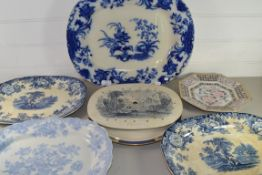 VARIOUS BLUE AND WHITE SERVING DISHES