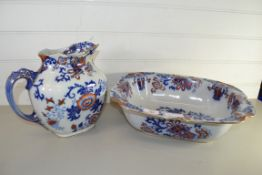 LARGE POTTERY JUG AND BASIN BY DOULTON IN THE NANKIN PATTERN