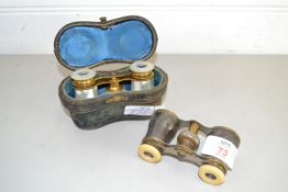 PAIR OF OPERA GLASSES, WITH ORIGINAL CASE, AND FURTHER PAIR OF GLASSES WITH MOTHER OF PEARL INLAY