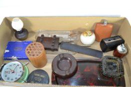 BOX CONTAINING GLASS WARES, ASHTRAYS, BAKELITE TRAYS ETC