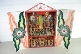 PAINTED BOX CONTAINING PAINTED ANIMAL FIGURES, EMBLEMATIC OF A NATIVITY SCENE