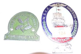 BADGE FOR THE MORGAN GAYDON RALLEY AND NATIONAL TRUST BADGE