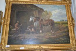 OIL ON BOARD OF HORSES, FARMYARD SCENE, SIGNED J HAZELTON