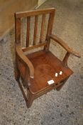 SMALL STAINED WOOD CHILD'S CHAIR, APPROX 36CM MAX