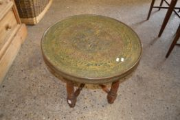 BRASS BENARES TYPE TRAY AND STAND