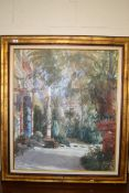 """LARGE FRAMED OLEOGRAPH OF A BLECHEN PAINTING """"PALM HOUSE"""", FRAME WIDTH APPROX 98CM"""