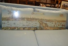 REPRODUCTION PRINT ON BOARD VIEW OF LONDON, LENGTH APPROX 152CM