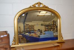 GILT OVERMANTEL MIRROR, REPRODUCTION, WIDTH APPROX 122CM MAX