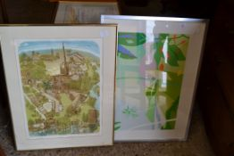 TWO FRAMED PRINTS INCLUDING A GLYNN THOMPSON, NORWICH CATHEDRAL