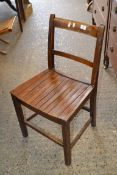 RUSTIC OAK ARMCHAIR, WIDTH APPROX 56CM TOGETHER WITH ONE OTHER