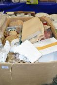 BOX OF VARIOUS FABRICS AND DOLLS AND DOLLS CLOTHING