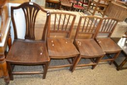 SET OF THREE OAK DINING CHAIRS TOGETHER WITH ONE OTHER