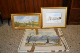 THREE VARIOUS PICTURES, OIL, SIGNED BRIAN CONNOLEL - MAN FISHING, WATERCOLOUR LINKS HOTEL BY