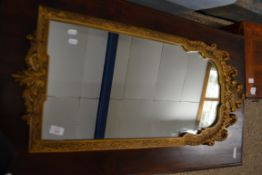 REPRODUCTION ORNATE GILT WALL MIRROR, WIDTH APPROX 43CM MAX