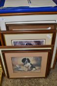 PRINTS OF DOGS BY NIGEL HEMMING, OTHER PRINTS BY JOHN TRICKETT, SOME SIGNED BY THE ARTIST TO MOUNT