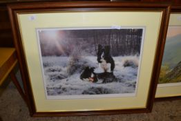 LARGE STEPHEN TOWNSEND LIMITED EDITION DOG PRINT, FRAME WIDTH APPROX 82CM