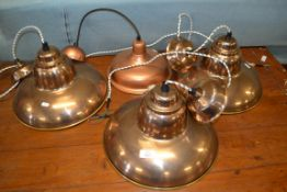 SET OF THREE INDUSTRIAL STYLE PENDANT LIGHT FITTINGS, EACH APPROX 35CM, TOGETHER WITH ONE SMALLER