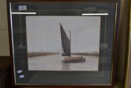 """FRAMED WATERCOLOUR, SIGNED D B BALDRY """"LIGHT FOR YARMOUTH"""" TO MOUNT"""