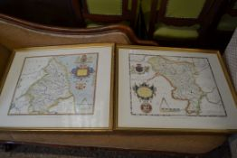 TWO REPRODUCTION FRAMED SAXTON'S MAPS NORTHUMBERLAND AND DERBYSHIRE, EACH FRAME SIZE APPROX 69CM