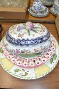 KITCHEN WARES INCLUDING A LARGE TUREEN, LARGE PLATE DECORATED WITH FRUIT