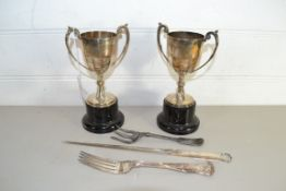 TWO SILVER METAL CUPS FOR THE GLENGORSE GOLF CLUB