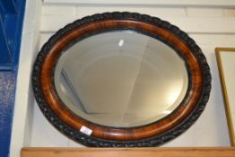 MIRROR IN OVAL WOODEN FRAME