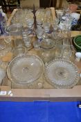 GLASS WARES, DECANTERS, TWO TAZZAS ETC