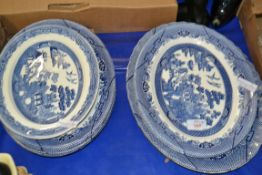 QTY OF BLUE AND WHITE POTTERY SERVING DISHES