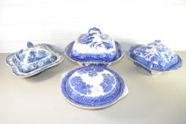 FOUR BLUE AND WHITE TUREENS AND COVERS