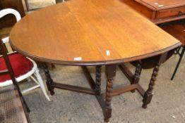 BARLEY TWIST GATE LEG OVAL TABLE, APPROX 104CM X 152CM