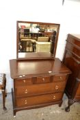 LATE 20TH CENTURY MIRROR BACK DRESSING CHEST, WIDTH APPROX 82CM