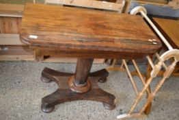 19TH CENTURY MAHOGANY FOLD TOP TEA TABLE, WIDTH APPROX 91CM