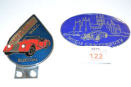 TWO BADGES, ONE FOR BUXTON, ONE FOR CANTERBURY