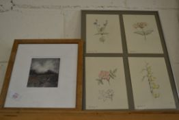 PRINT FRAMED BY WALSINGHAM GALLERY, TOGETHER WITH A FURTHER PRINT OF FLOWERS
