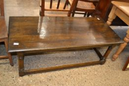 JOINTED STAINED WOOD COFFEE TABLE, APPROX 123 X 56CM