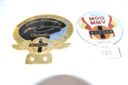 TWO BADGES FOR THE MORGAN SPORTS CAR CLUB AND OTHER MORGAN BADGES